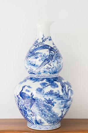 old porcelain vase blue abd white, decor