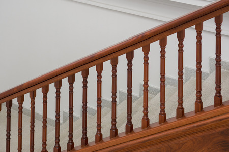 handrails: Stone staircase with wooden handrails, architecture
