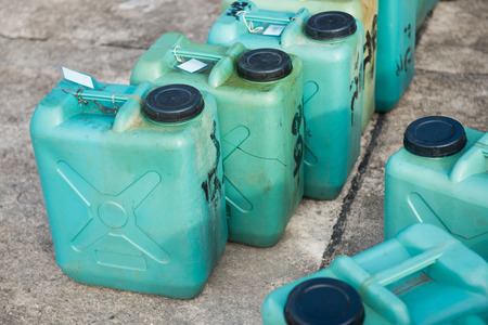 fuel tanks: green plastic fuel tanks, industry Stock Photo