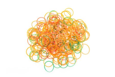 rubber bands: pile of colorful rubber bands  Stock Photo