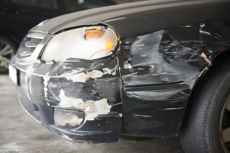 wrecked: Crushed cars from accident on the road, wrecked car Stock Photo