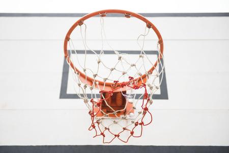 courtyard: basketball hoop in the courtyard, sport Stock Photo