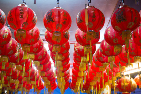 tabernacle: red chinese lanterns in a shrine, lamp