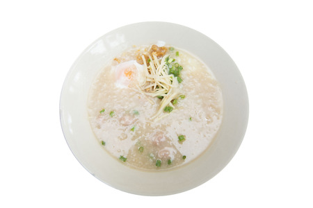 breakfast food: boiled rice pork thai style breakfast, food