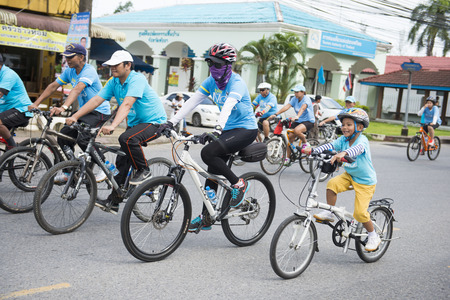queens birthday: PHANG-NGA, THAILAND-AUGUST 16 : Bike for mom event to celebrate the Queens birthday on August 16, 2015 in Phang-nga, Thailand, rider