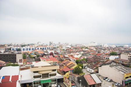 penang: GEORGETOWN, PENANG, MALAYSIA-AUGUST 9, 2015 bird eye view of city in Penang, Malaysia, Travel