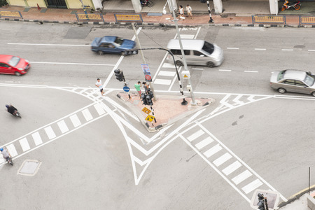 the world heritage: GEORGETOWN, PENANG, MALAYSIA-AUGUST 9, 2015 bird eye view of intersection in george town world heritage in Penang, Malaysia, Travel