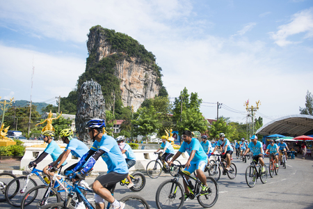 phangnga: PHANG-NGA, THAILAND-AUGUST 16 : Bike for mom event to celebrate the Queens birthday on August 16, 2015 in Phang-nga, Thailand, rider