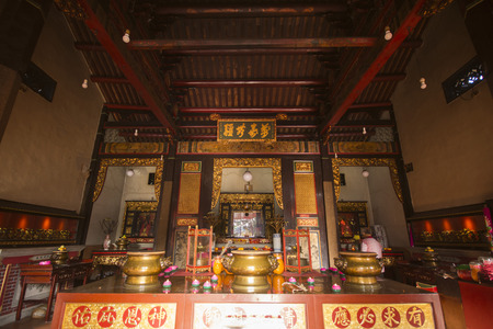 veneration: PENANG, MALAYSIA-AUGUST 10, 2015 inside of Snake Temple at Penang, Malaysia, travel Editorial