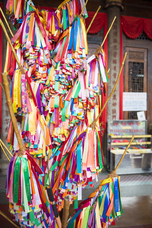 si: PENANG, MALAYSIA-AUGUST 10, 2015 :: colorful ribbon for pray in Kek Lok Si temple , Malaysia