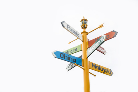 different countries: directions signpost to many different countries, colorful