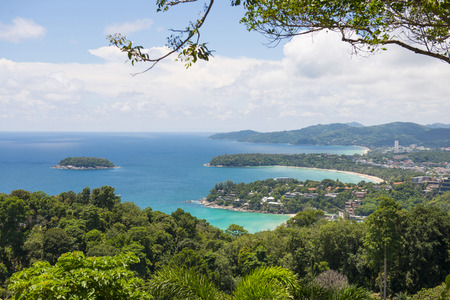 kata: PHUKET, THAILAND-AUGUST 29, 2015 karon view point, we can see kata noi, kata beach and karon beach from here at Phuket, Thailand, landmark