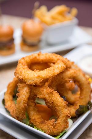 fried food: fried squid rings with vegetable, food