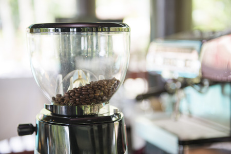 with coffee maker: fresh coffee bean in coffee maker, drink