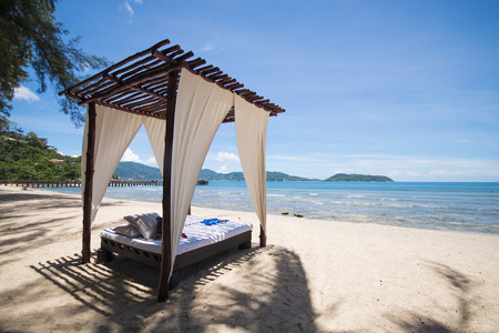 arbor: beautiful wooden arbor on the beach for lie back Stock Photo