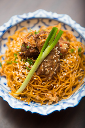 chinese food: yellow noodle with roast pork, food Stock Photo