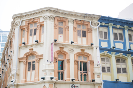 historic architecture: colorful historic architecture, shophouses in chinatown, Singapore, exterior