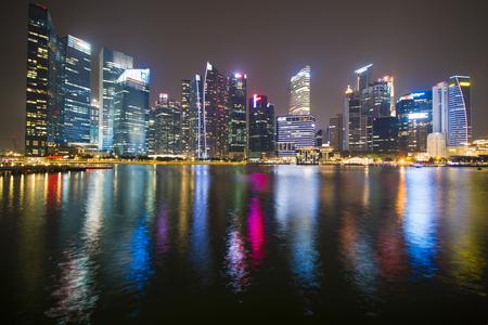 marina bay: modern building of cityscape in singapore at night, marina bay