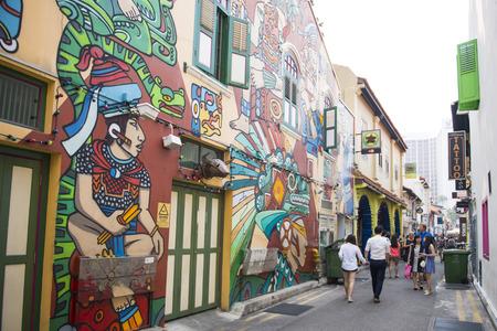 SINGAPORE, OCTOBER 12, 2015: street art in Haji lane is the famous shopping lane in Singapore on October 12, 2015, landmark 新聞圖片