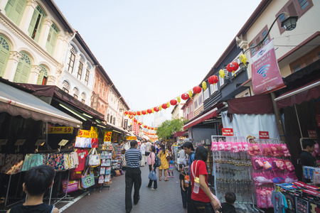 bargains: CHINATOWN, SINGAPORE - OCTOBER 12, 2015: Chinatown is place famous for shopping cheap souvenirs and bargains in Singapore on October 12, 2015, landmark