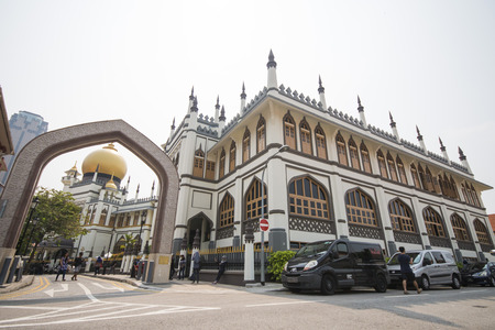 located: SINGAPORE, OCTOBER 12, 2015: Sultan Mosque is the largest religious building in Singapore, Located in the Kampong Glam on October 12, 2015, landmark