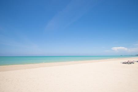 phangnga: tropical beach with blue sky and calm blue sea surf, Bangsak beach, Phang-nga Stock Photo