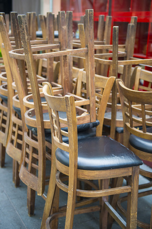 stackable: Stackable wood chairs in restaurant , furniture Stock Photo