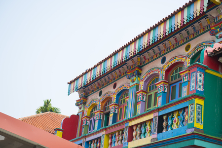 colorful house in little india Singapore, shophouse
