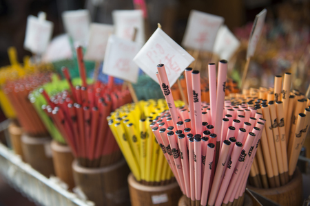 china town: colorful chopsticks in shop at china town market , emaciate