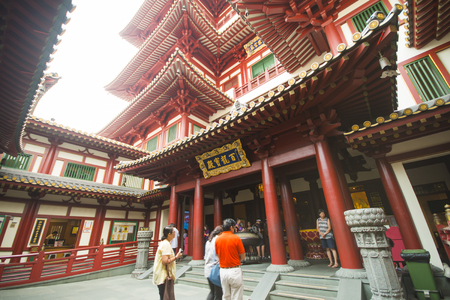 aisa: CHINATOWN, SINGAPORE - OCTOBER 12, 2015: buddha tooth relic temple & museum is a very famous in Chinatown, Singapore on October 12, 2015, building Editorial