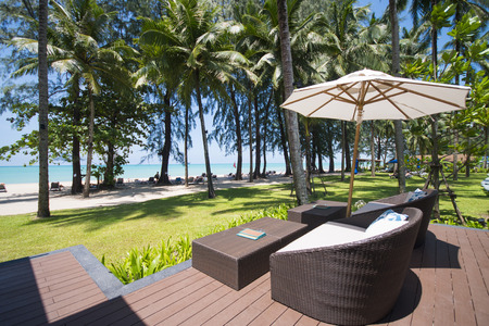 hotel resort: hotel resort with umbrella and chair overlook the sea, travel