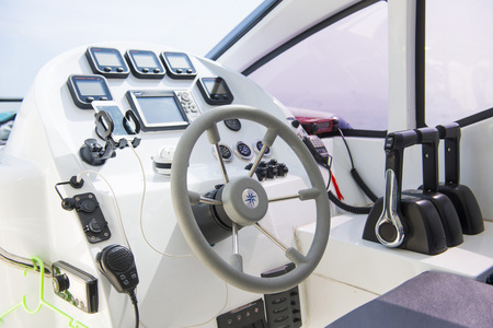 speedboats: steering wheel the ship of speedboats, control Stock Photo