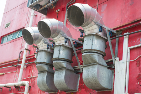 ventilate: Ventilation ducts of restaurant in town, Cooker hood