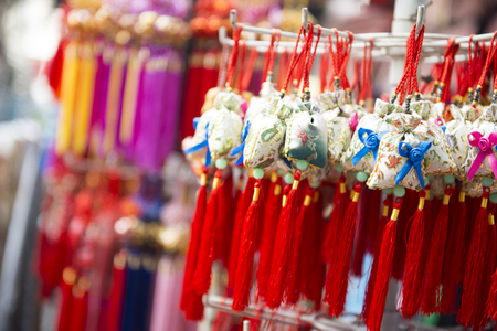 key chain: key chain at souvenir shop in china town Singapore, shop Stock Photo