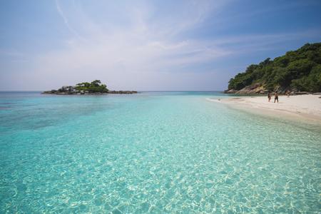 beautiful tropical beach with calm blue sea surf, Racha Noi Island, Phuket, Thailand