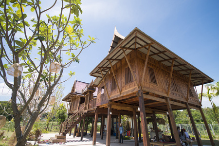 thai style: antique wooden house of thai style, home