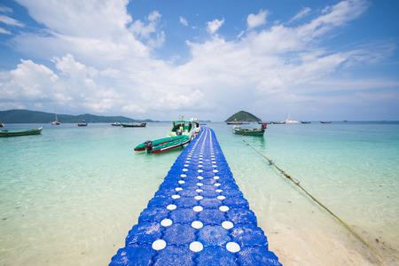pontoon: pontoon walkway in the sea, coral island, Phuket, Thailand