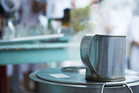 boiling pot: Hot steam from a boiling pot of coffee, drink Stock Photo
