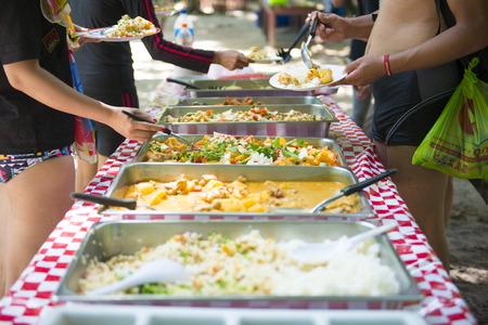 lunch tray: buffet thai food in the tray for lunch, cuisine
