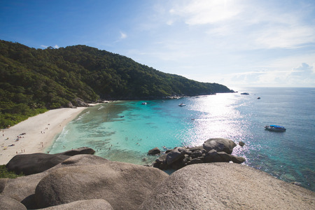 phangnga: PHANG-NGA, THAILAND - November 7, 2015; beautiful similan island like a heaven with blue sky and calm blue sea surf on November 7, 2015, Phang-nga, Thailand Editorial