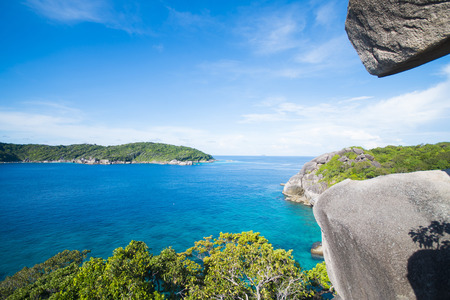 island: beautiful similan island like a heaven with blue sky and calm blue sea surf, Phang-nga, Thailand