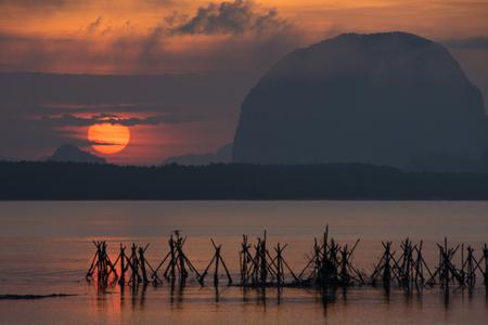 phangnga: beautiful morning light at Baan Sam Chong Tai, Phang-nga, Thailand