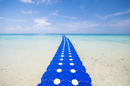 ton: pontoon walkway in the sea, Mai Ton Island, Phuket, Thailand Stock Photo