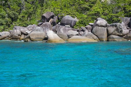 phangnga: beautiful similan island like a heaven with calm blue sea surf, Phang-nga, Thailand Stock Photo
