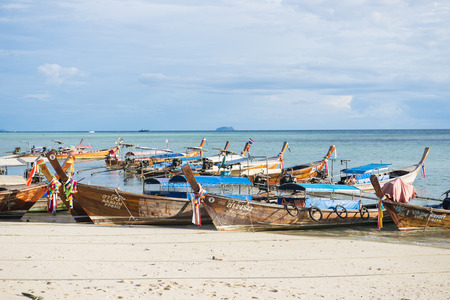 long tailed boat: KRABI, THAILAND - DECEMBER 1, 2015 : long-tailed boat for tourists at Phi Phi Island on December 1, 2015 in Krabi, Thailand, Travel Editorial