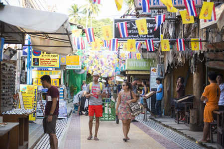 phi phi: KRABI, THAILAND - DECEMBER 1, 2015 : the tourists shopping at the street market on Phi Phi Island on December 1, 2015 in Krabi, Thailand, Travel Editorial