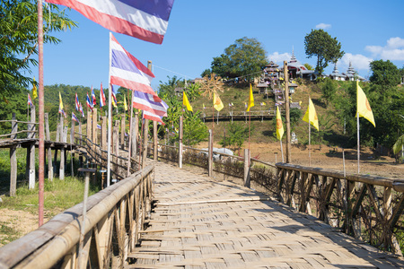 regarded: MAE HONG SON, THAILAND - DECEMBER 28, 2015: Zutongpae Bridge is regarded as the bamboo bridge, the longest in Thailand on December 28, 2015, nature