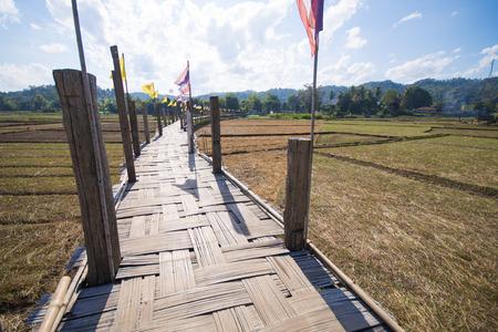 longest: MAE HONG SON, THAILAND - DECEMBER 28, 2015: Zutongpae Bridge is regarded as the bamboo bridge, the longest in Thailand on December 28, 2015, nature