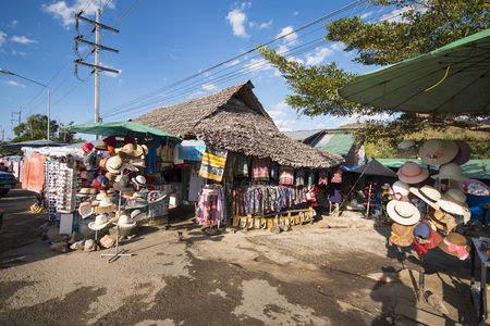 world war ii: PAI, MAE HONG SON, THAILAND - DECEMBER 26, 2015: souvenir shop at Pai World War II memorial bridge on december 26, 2015, travel Editorial