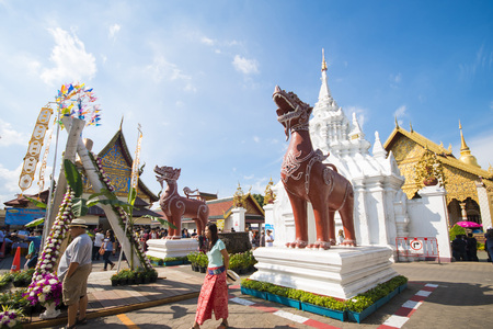 lamphun: LAMPHUN, Thailand - DECEMBER 30, 2015: Wat Phra That Hariphunchai is a Buddhist temple in Lamphun province on December 30, 2015, religion Editorial